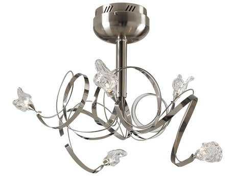 PLC Lighting Ribbon Satin Nickel 21'' Wide Five-Light Halogen Semi-Flush Mount Light PLC6049SN
