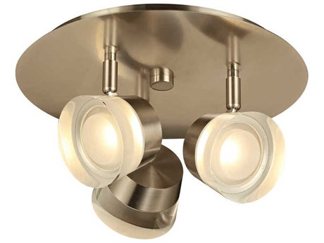 PLC Lighting Sitra Satin Nickel Three-Light 12'' Wide LED Vanity Light PLC90068SN
