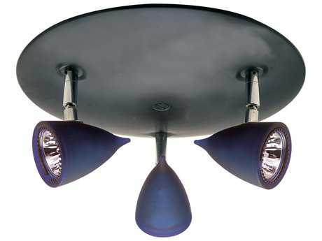 PLC Lighting Vetro Black 11'' Wide Three-Light Halogen Spot Light (Sold in 2) PLC8113BLUEBK