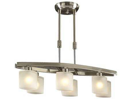 PLC Lighting Wyndham Satin Nickel 9'' Wide Six-Light Halogen Island Light PLC649SN