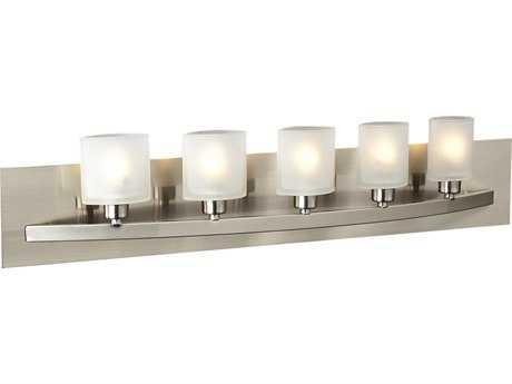 PLC Lighting Wyndham Satin Nickel Five-Light Halogen Vanity Light PLC645SN