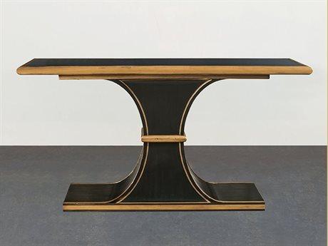 Port Eliot Antique Black / Glass 59'' Wide Rectangular Console Table PETPE760