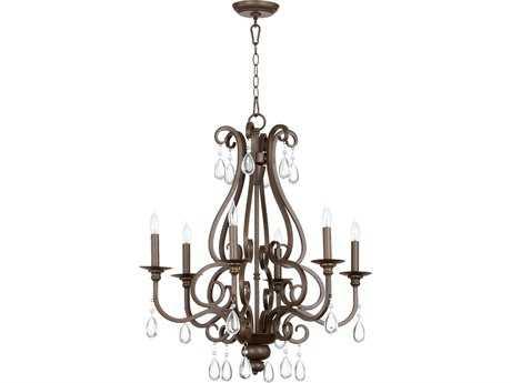 Quorum International Anders Oiled Bronze Six-Light 25'' Wide Chandelier QM6013686