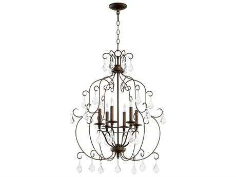 Quorum International Ariel Vintage Copper Six-Light 24'' Wide Chandelier QM6105639