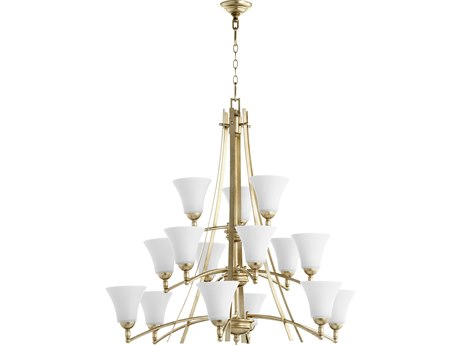 Quorum International Aspen Aged Silver Leaf with Satin Opal Glass 15-Light 40.5'' Wide Chandelier QM61771560