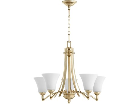 Quorum International Aspen Aged Silver Leaf with Satin Opal Glass Five-Light 27'' Wide Chandelier QM6177560