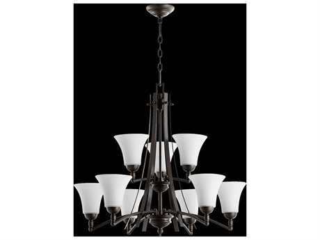 Quorum International Aspen Oiled Bronze With Satin Opal Nine-Light 30'' Wide Chandelier QM61779186