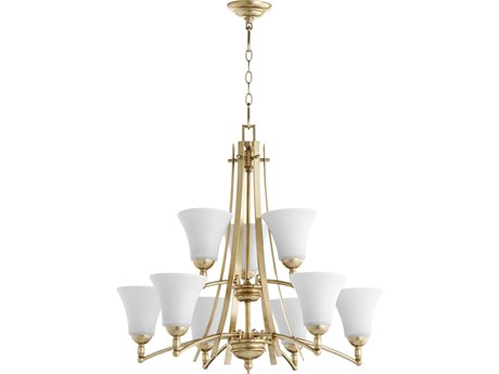 Quorum International Aspen Aged Silver Leaf with Satin Opal Glass Nine-Light 30'' Wide Chandelier QM6177960