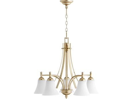 Quorum International Aspen Aged Silver Leaf with Satin Opal Glass Five-Light 26'' Wide Chandelier QM6477560