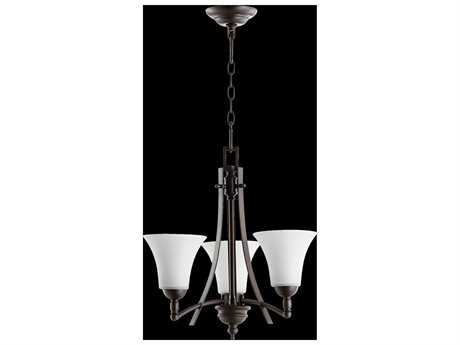 Quorum International Aspen Oiled Bronze With Satin Opal Three-Light 20.5'' Wide Mini Chandelier QM61773186