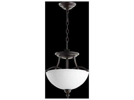 Quorum International Aspen Oiled Bronze With Satin Opal Two-Light Pendant Light QM287714186