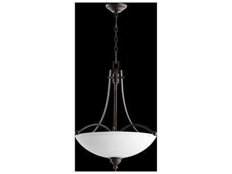 Quorum International Aspen Oiled Bronze With Satin Opal Four-Light Pendant Light QM81774186