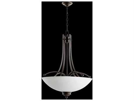 Quorum International Aspen Oiled Bronze With Satin Opal Five-Light Pendant Light QM81775186