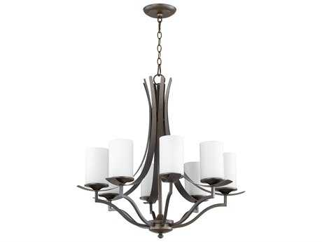 Quorum International Atwood Oiled Bronze with Satin Opal Eight-Light 28'' Wide Chandelier QM60968186