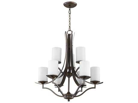 Quorum International Atwood Oiled Bronze with Satin Opal Nine-Light 30'' Wide Chandelier QM60969186