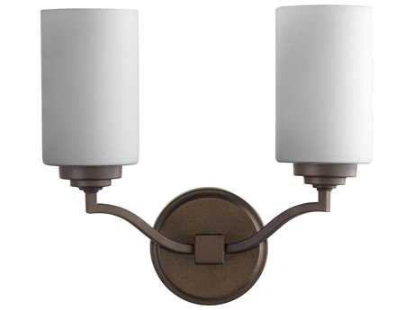Quorum International Atwood Oiled Bronze with Satin Opal Two-Light Wall Sconce QM54962186