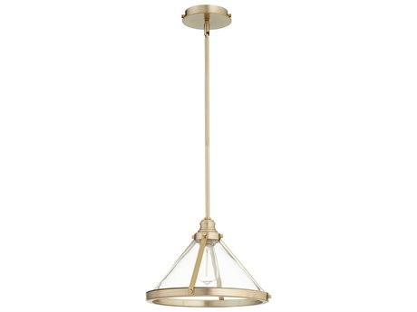 Quorum International Banded Cone Aged Brass 14'' Wide Pendant Light QM88780