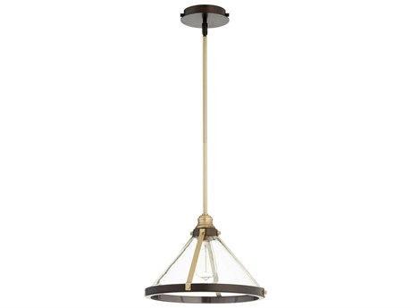 Quorum International Banded Cone Aged Brass and Oiled Bronze 14'' Wide Pendant Light QM8878086