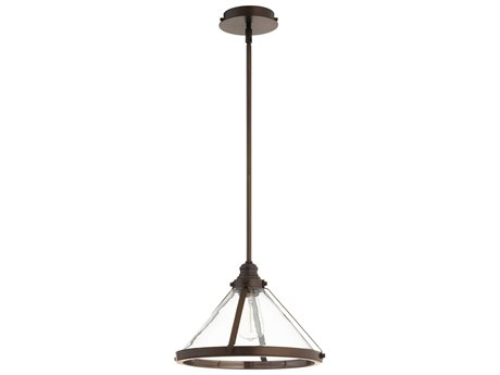 Quorum International Banded Cone Oiled Bronze 14'' Wide Pendant Light QM88786