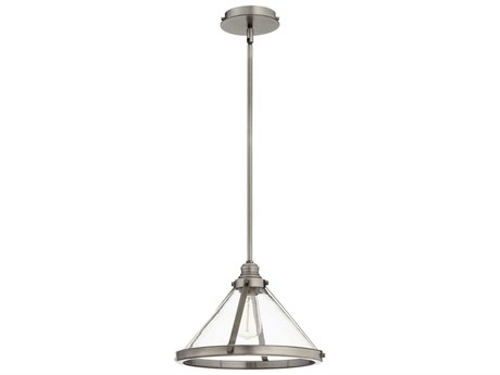 Quorum International Banded Cone Antique Silver 14'' Wide Pendant Light QM88792