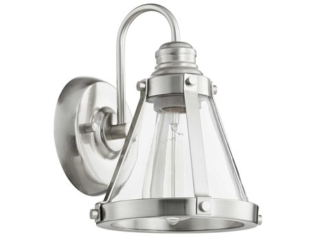 Quorum International Banded Cone Satin Nickel with Clear Glass 7'' Wide Vanity Light