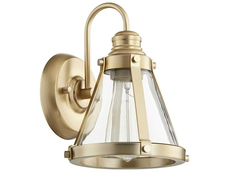 Quorum International Banded Cone Aged Brass with Clear Glass 7'' Wide Vanity Light QM587180
