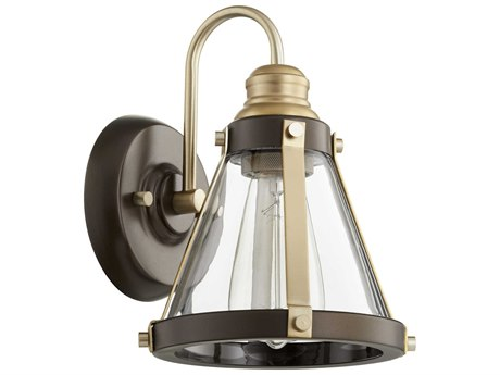 Quorum International Banded Cone Aged Brass and Oiled Bronze with Clear Glass 7'' Wide Vanity Light QM58718086