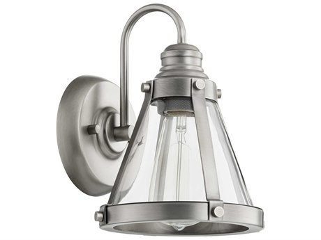 Quorum International Banded Cone Antique Silver with Clear Glass 7'' Wide Vanity Light QM587192