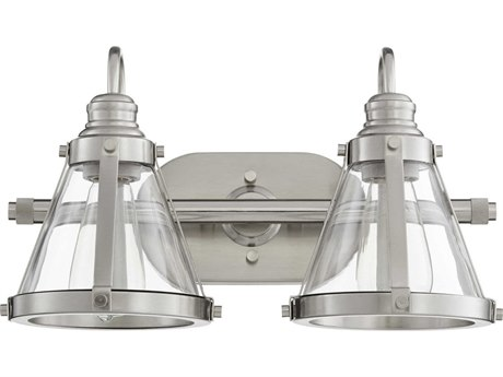 Quorum International Banded Cone Satin Nickel Two-Light 16.5'' Wide Vanity Light QM587265