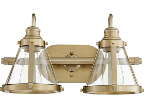 Quorum International Banded Cone Aged Brass Two-Light 16.5'' Wide Vanity Light QM587280