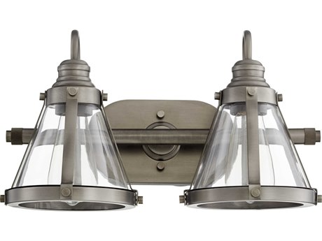 Quorum International Banded Cone Antique Silver Two-Light 16.5'' Wide Vanity Light QM587292