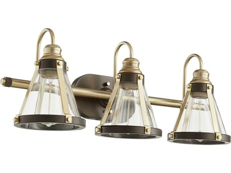 Quorum International Banded Cone Aged Brass and Oiled Bronze Three-Light 25'' Wide Vanity Light QM58738086