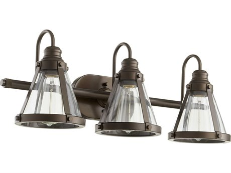 Quorum International Banded Cone Oiled Bronze Three-Light 25'' Wide Vanity Light QM587386