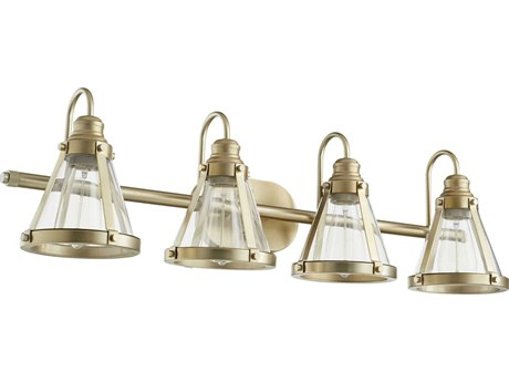 Quorum International Banded Cone Aged Brass Four-Light 34.5'' Wide Vanity Light QM587480