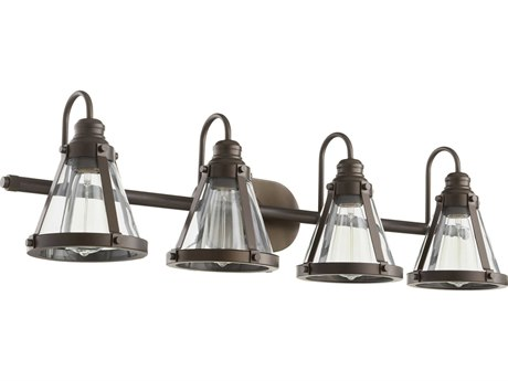 Quorum International Banded Cone Oiled Bronze Four-Light 34.5'' Wide Vanity Light QM587486