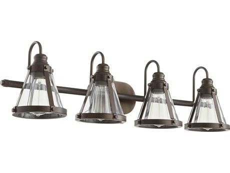 Quorum International Banded Cone Oiled Bronze Four-Light 34.5'' Wide Vanity Light QM587486