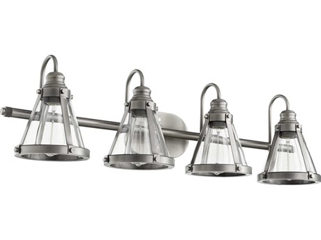 Quorum International Banded Cone Antique Silver Four-Light 34.5'' Wide Vanity Light QM587492