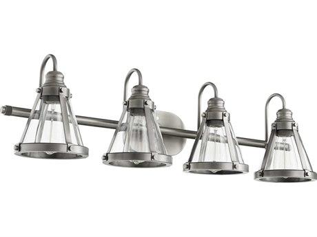Quorum International Banded Cone Antique Silver Four-Light 34.5'' Wide Vanity Light QM587492