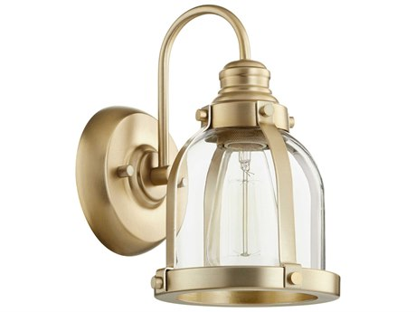 Quorum International Banded Dome Aged Brass 7'' Wide Vanity Light QM586180