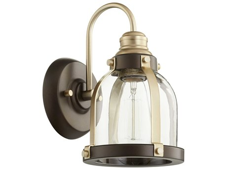 Quorum International Banded Dome Aged Brass and Oiled Bronze 7'' Wide Vanity Light QM58618086