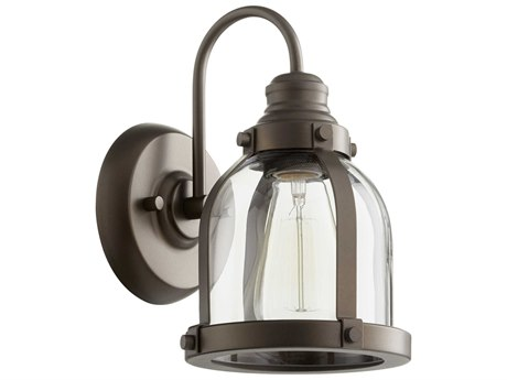 Quorum International Banded Dome Oiled Bronze with Clear Glass 7'' Wide Vanity Light QM586186