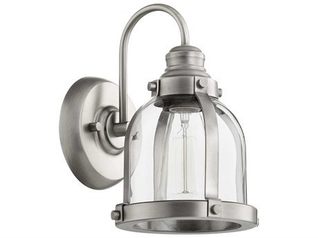 Quorum International Banded Dome Antique Silver with Clear Glass 7'' Wide Vanity Light QM586192