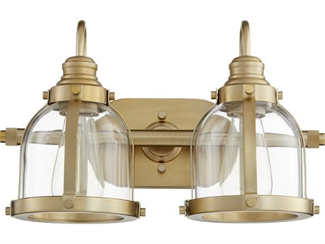 Quorum International Banded Dome Aged Brass Two-Light 16'' Wide Vanity Light QM586280