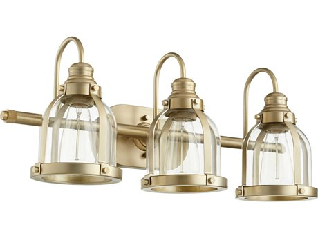 Quorum International Banded Dome Aged Brass Three-Light 24.5'' Wide Vanity Light QM586380