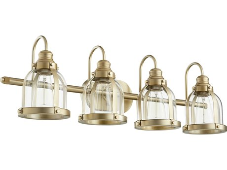 Quorum International Banded Dome Aged Brass Four-Light 32.5'' Wide Vanity Light QM586480