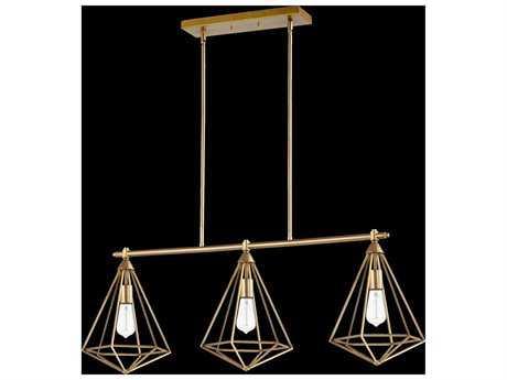 Quorum International Bennett Aged Brass Three-Light Island Ceiling Light QM6311380