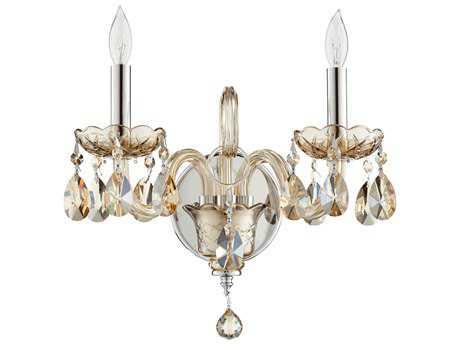 Quorum International Bohemian Katerina Chrome with Cognac Glass Two-Light Wall Sconce QM6312614