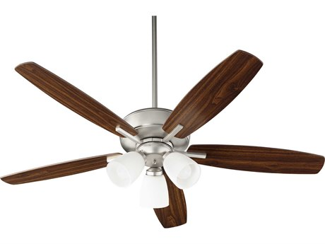 Quorum International Breeze Satin Nickel Three-Light 52'' Wide LED Indoor Ceiling Fan with Walnut/ Satin Nickel Blades QM70525365
