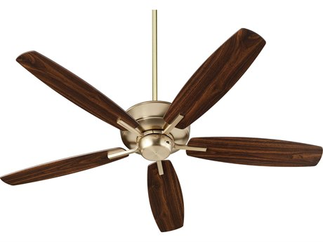 Quorum International Breeze Aged Brass 52'' Wide Indoor Ceiling Fan Dark Oak / Walnut Blades QM705280