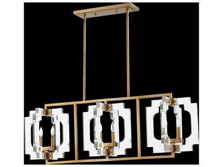 Quorum International Broadway Aged Brass Six-Light Island Ceiling Light QM655680